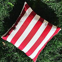 Подушка декоративная 40х40см. Полоска красная.