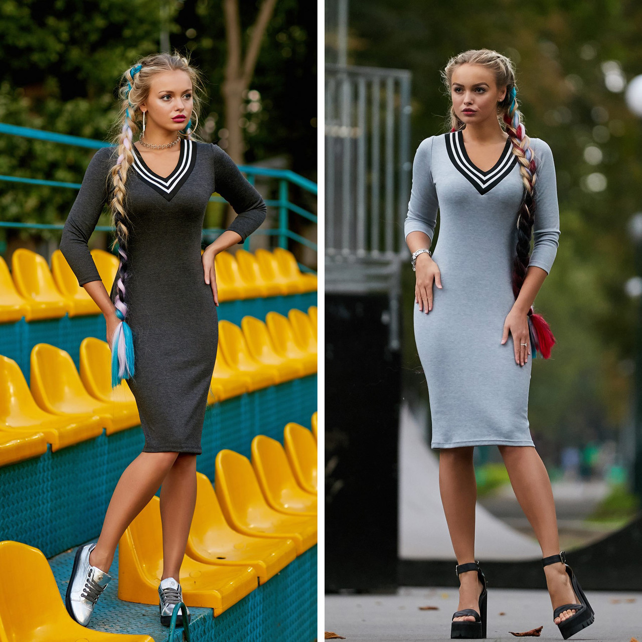 1dad69b9767 Купить Спортивное облегающее платье миди с V-образным вырезом ...