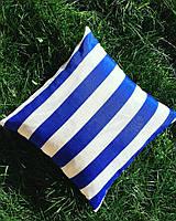 Подушка декоративная 40х40см. Полоска синяя.