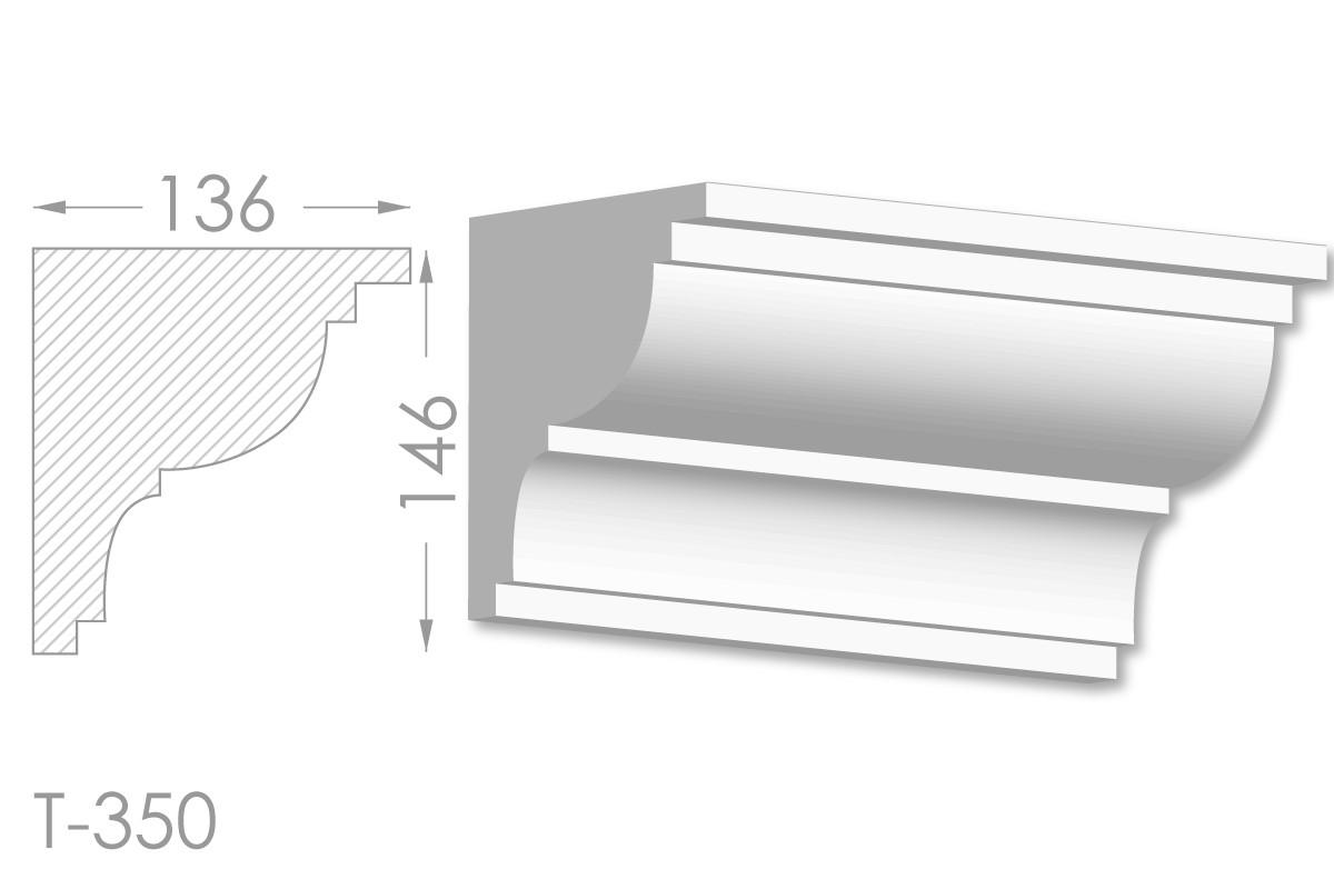 Карниз с гладким профилем, молдинг потолочный из гипса т-350