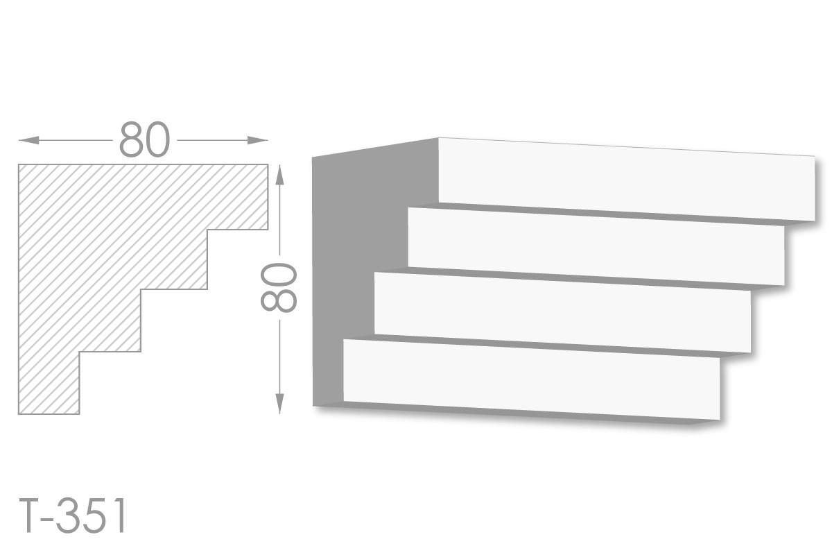 Карниз с гладким профилем, молдинг потолочный из гипса т-351