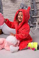 Халат детский с капюшоном + ушки с поясом плюшевый рост 110-116 , 116-122, 122-128, 128-134