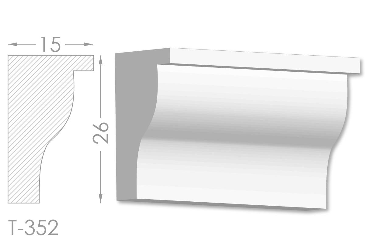 Карниз с гладким профилем, молдинг потолочный из гипса т-352