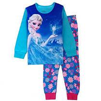 Пижама для девочки Принцессы трикотаж  в сине-зелёных тонах  , фото 2