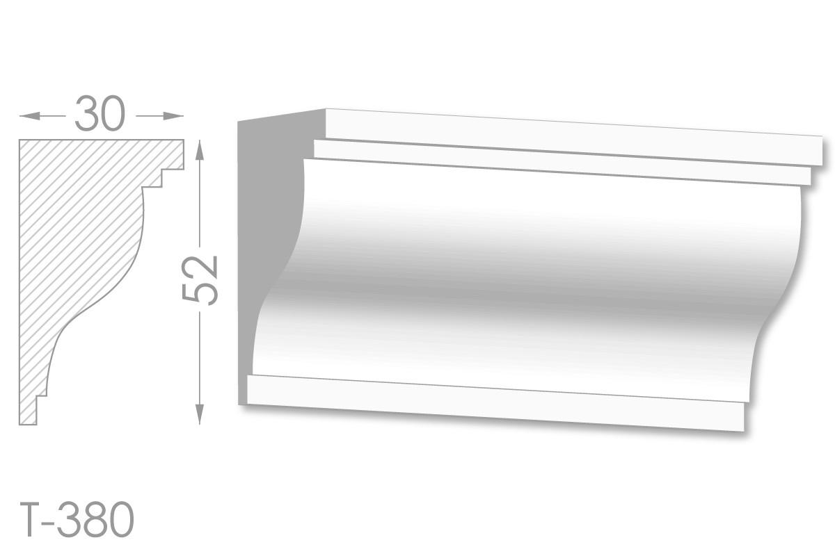 Карниз с гладким профилем, молдинг потолочный из гипса т-380