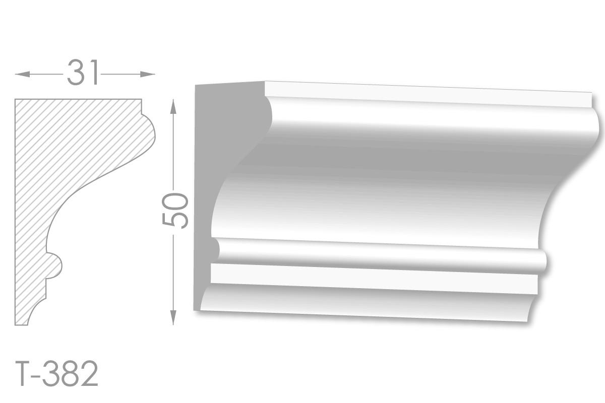 Карниз с гладким профилем, молдинг потолочный из гипса т-382
