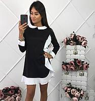 Женское стильное прямое платье с бело отделкой и воротником трикотаж джерси и креп-костюмка(4 цвета)