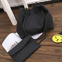 Женская большая сумка и клатч набор черный