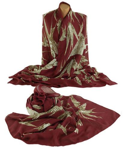 Красивая женская шаль, 70% хлопок, 30% полиэстер, 200х100 см, Trаum 2494-37, цвет бордовый.