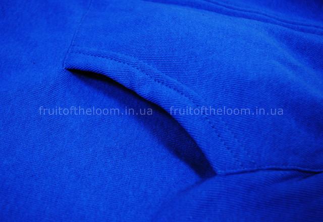 Ярко-синяя мужская классическая толстовка с капюшоном на замке
