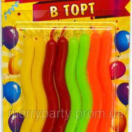 Свечи для торта фигурные разноцветные 8 шт./уп. 8 см
