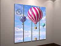 Картина часы холст небо с воздушными шарами