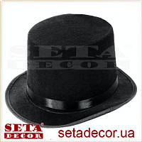 Шляпа детский черный цилиндр текстиль