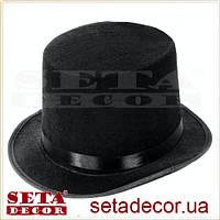 Прокат. Шляпа детский черный цилиндр текстиль