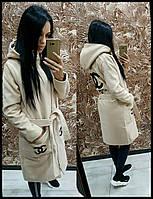 Женское длинное кашемировое пальто CHANEL бежевое 42,44,46,48