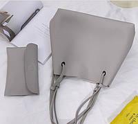 Женская сумка и клатч набор серый