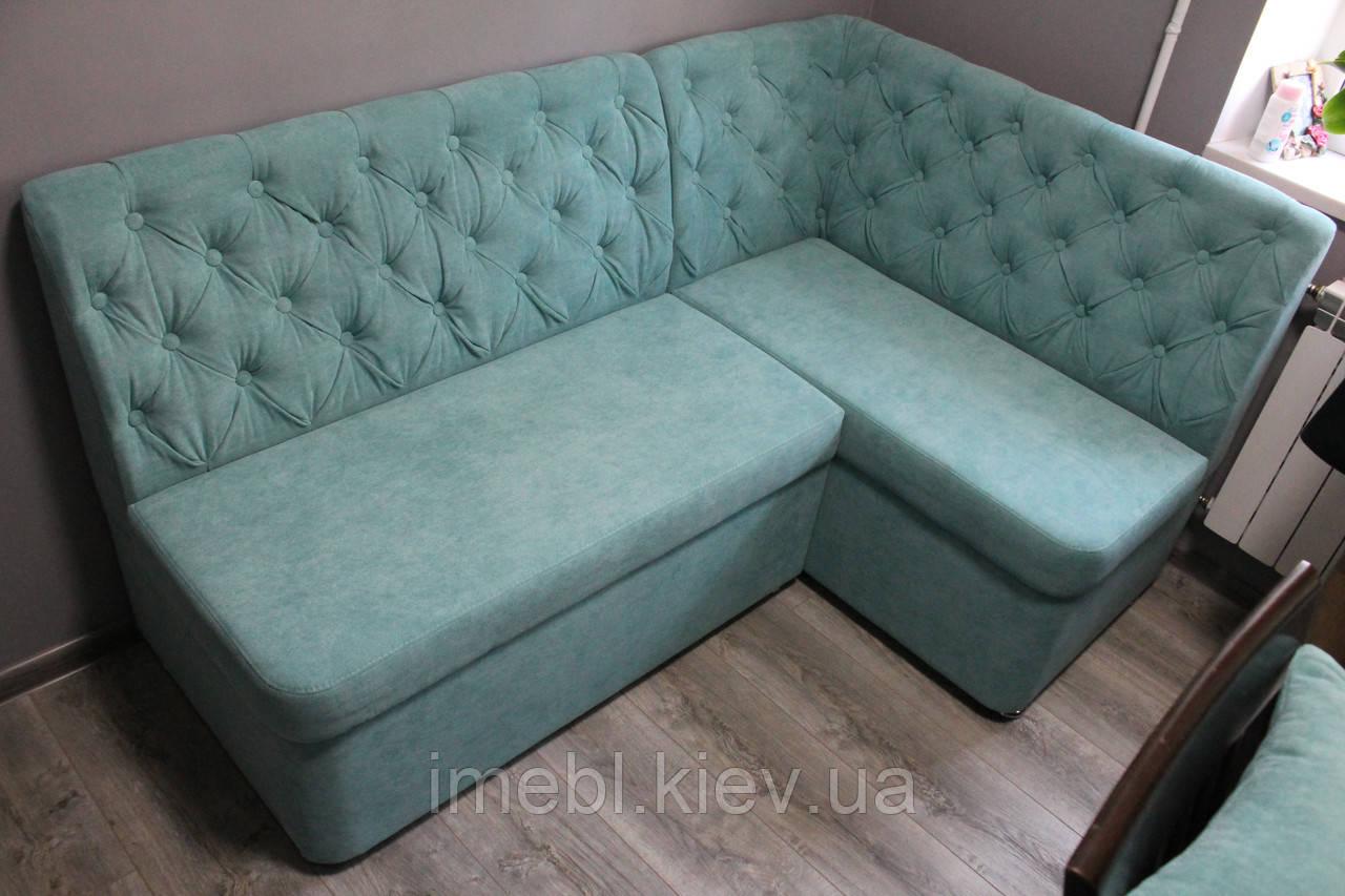 Кухонный угловой диванчик с ящиками (Голубой)