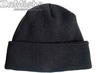 Шапка вязаная черная (шерсть/акрил/подкладка - флис)
