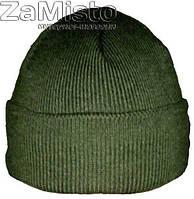 Шапка вязаная зеленая (шерсть/акрил/подкладка - флис)