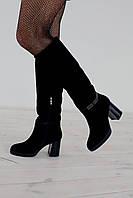 Сапоги женские на каблуке зимние 1856/2 замш/мех европейка, фото 1