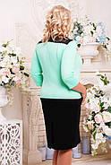 Женское красивое платье Агра с имитацией жакета, цвет черный с мятным размер 52-62 / большие размеры , фото 2