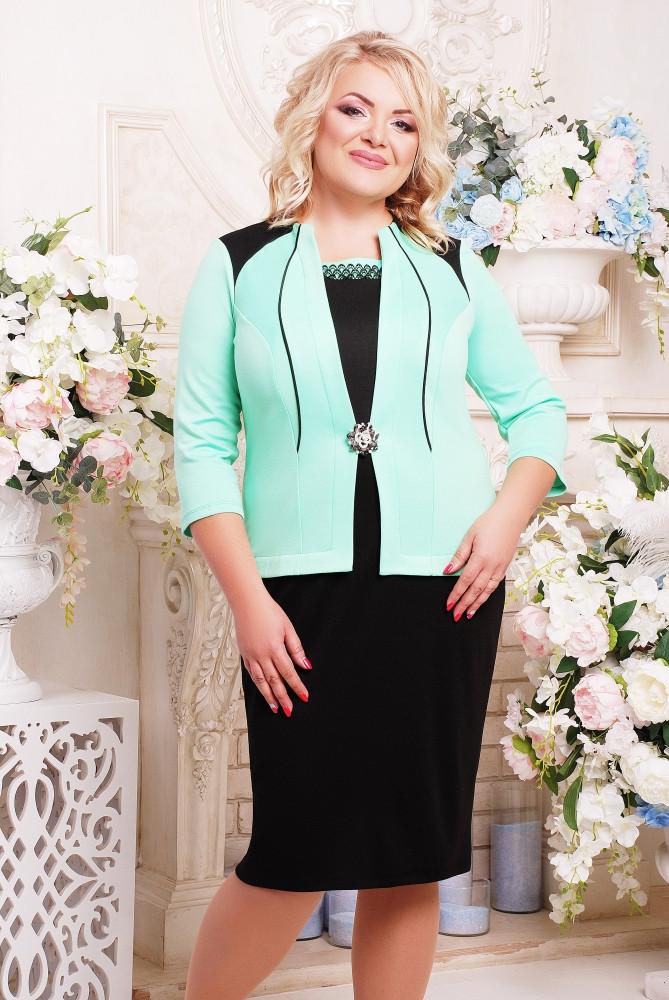 Женское красивое платье Агра с имитацией жакета, цвет черный с мятным размер 52-62 / большие размеры