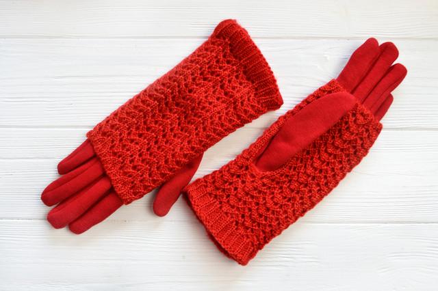 Трикотажные перчатки с ажурной митенкой Забайоне из новой осенне-зимней  коллекции! Вашим ручкам некогда мерзнуть! Внутри утеплены плюшем c18630b5fa981