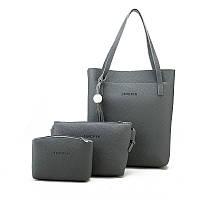 Женская сумка в наборе 3в1 + мини сумочка и клатч темно-серый