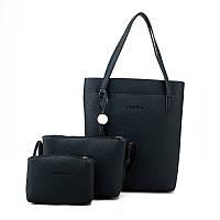 Женская сумка в наборе 3в1 + мини сумочка и клатч черный