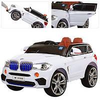 Детский электромобиль джип BMW белый, кожаное сиденье и MP4 планшет