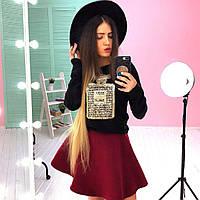 """Костюм модный свитшот из ангоры и пышная юбка мини кашемир """"Духи"""" разные цвета 6Kb576"""