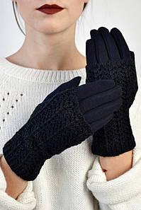 Женские перчатки трикотажные Забайоне индиго размер 6,5