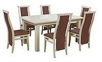 Комплект стол и стулья Барри  (Лак Слоновая кость) раскладной, дерево Бук
