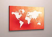 Картина в интерьер фотопечать на холсте Карта мира Красно-белая 60х40