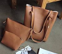 Женская сумка в наборе 3в1 + мини сумочка и клатч рыжий