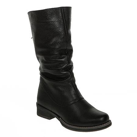 Полусапоги женские Kornelia (черные, кожаные, практические, комфортные)