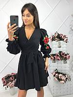 67ee13f78d6 Женское красивое черное платье с юбкой-солнце и вышивкой креп-костюмка