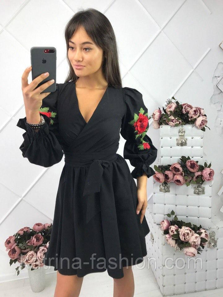Женское красивое черное платье с юбкой-солнце и вышивкой креп-костюмка