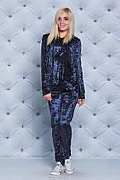 Женский велюровый костюм с капюшоном т-синий