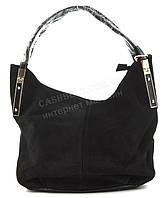 Вместительная стильная прочнаяженская сумка с замшевой лицевой частью GERNAS art. 16244 черная