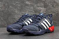 Зимние кроссовки Adidas Terrex, мужские с мехом (т.синие с белым)