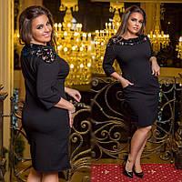 Черное платье-футляр с карманами
