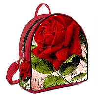 Красный городской рюкзак с принтом Роза
