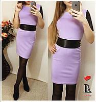 Платье со вставками из экокожи, фото 1