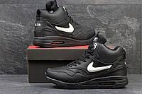 Высокие мужские кроссовки Nike Air Max 87, зимние, черно белые