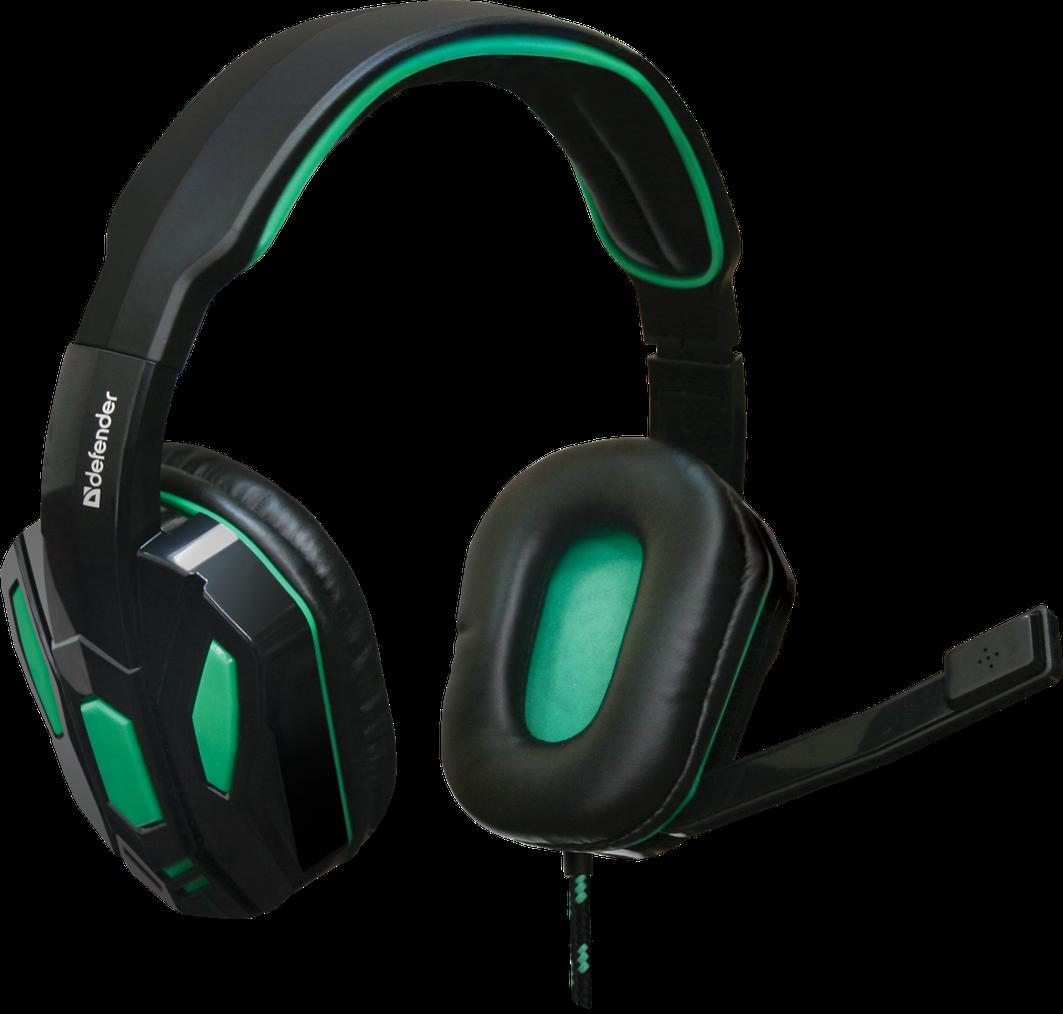 Игровая компьютерная гарнитура Defender Warhead G-275 зеленый + черный