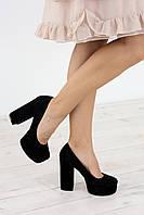 Туфли женские на каблуке 1799 замш