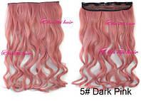 Волосы ТЕРМО на заколках тресс затылочная прядь длина  50см розовый