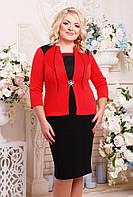 Женское красивое платье Агра с имитацией жакета, цвет черный с красным размер 52-62 / большие размеры