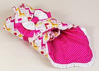 Демисезонный хлопковый конверт BabySoon Жирафики 80 х 85см розовый (037)